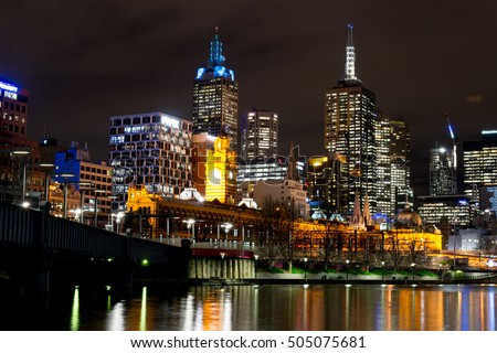 Melbourne's Central Business District (CBD) by the Yarra river at night