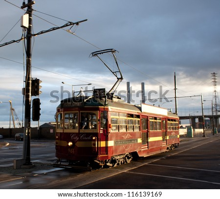 Melbourne's City Circle Tram, a free service for visitors - stock photo