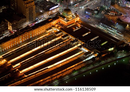 Melbourne's Flinders Street Station seen from the air - stock photo