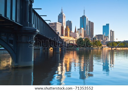 Melbourne skyline and Yarra river from Southbank - stock photo