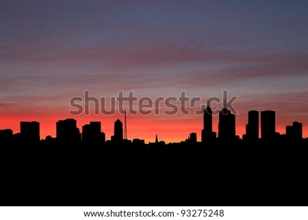 Melbourne skyline at sunset with beautiful sky illustration