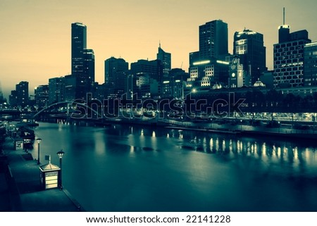 Melbourne skyline by night - stock photo