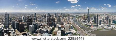 Melbourne skyline facing East - stock photo
