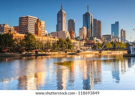 Melbourne skyline looking towards Flinders Street Station - stock photo