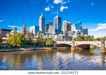 Melbourne skyline looking towards Flinders Street Station. Australia. - stock photo