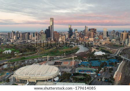 Melbourne sporting precinct with the tennis center in the foreground and the Yarra River. - stock photo
