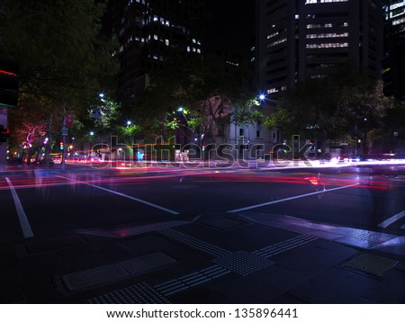 Melbourne street  at night - stock photo