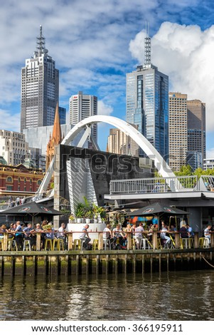 Melbourne Vic, Australia on 22nd Jan 2015: Professor Evan Walkers name will be permanently linked with Melbournes Southbank precinct, with the foot bridge named in honour of the former minister.