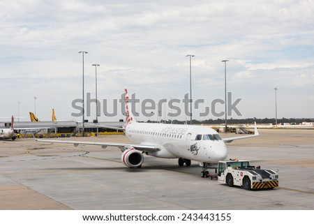 MELBOURNE, VICTORIA/AUSTRALIA, January 14TH: Image of a Virgin Australia passenger airliner at Melbourne Airport on 14th January, 2014 in Melbourne