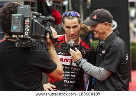 MELBOURNE, VICTORIA, AUSTRALIA - MARCH 23, 2014 - Ironman veteran Craig Alexander of Australia i interviewed on March 23, 2014. This is Alexanders final Ironman. - stock photo