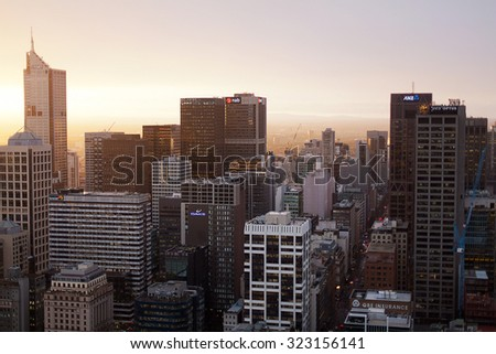 Melbourne, Victoria, Australia-May 25, 2012. skyline view at dawn of the city of Melbourne, the second most populated city in Australia, and the capital city of Victoria - stock photo