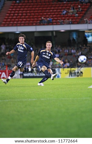 Melbourne Victory FC vs Gamba Osaka - Telstra Dome, 9th April '08 (#9 ALLSOPP, Daniel) - stock photo