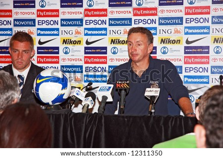 Melbourne Victory FC vs Gamba Osaka - Telstra Dome, 9th April '08 - Coach Ernie Merrick - stock photo