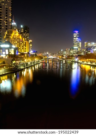 melbourne  yarra river at night - stock photo