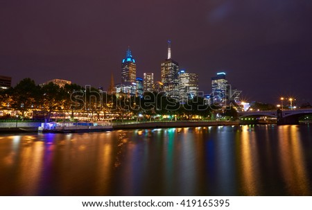 Melbourne & Yarra River view - stock photo