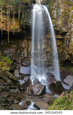 Melincourt Falls, Resolven, Vale of Neath, Port Talbot, Wales, United Kingdom. - stock photo