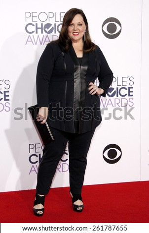 Melissa McCarthy at the 41st Annual People's Choice Awards held at the Nokia L.A. Live Theatre in Los Angeles on Tuesday January 7, 2015.  - stock photo
