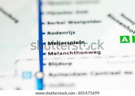 Melanchthonweg Station Rotterdam Metro Map Stock Photo 601475711