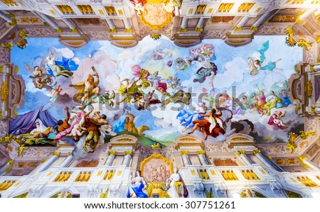 MELK, AUSTRIA - APR 23, 2015: ceiling painting in  Melk Abbey in Melk, Austria. Abbey Church is considered one of the most beautiful in Austria, built in baroque style. - stock photo
