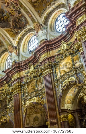 MELK, AUSTRIA - APR 22, 2015: St. Peter and Paul Church in Melk Abbey in Melk, Austria. Abbey Church is considered one of the most beautiful in Austria, built in baroque churches.