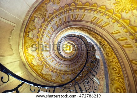 MELK, AUSTRIA - AUGUST 07, 2016: Staircase between the library and church in Melk Abbey (german: Stift Melk) - a Benedictine abbey in Lower Austria and is one of the world's most famous monastic sites
