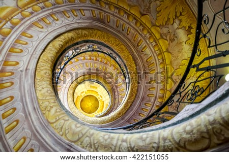 MELK, AUSTRIA - JULY 12, 2014: Staircase between the library and church in Melk Abbey (german: Stift Melk) - a Benedictine abbey in Lower Austria and is one of the world's most famous monastic sites.