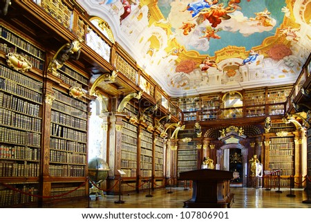 MELK, AUSTRIA - JUNE 21: The luxurious interior of the Library in Melk Abbey. June 21, 2012 Melk, Austria.  Massive Melk Abbey Library Has Over 100,000 Volumes in Collection. - stock photo
