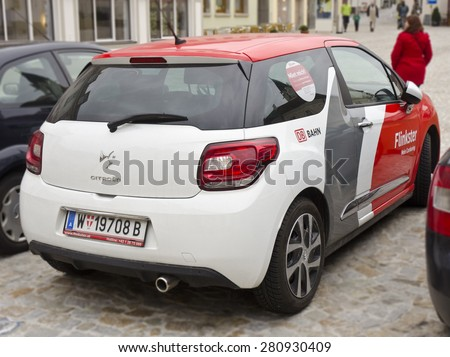 MELK, AUSTRIA - MARCH 21: a Flinkster carsharing vehicle on March 21, 2015 in Melk, Austria. Flinkster is a carsharing service operated by Deutsche Bahn in Germany, Switzerland, Austria, and Italy. - stock photo
