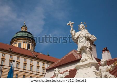 melk benedictine abbey cruise on the Danube from vienna to merk austria - stock photo