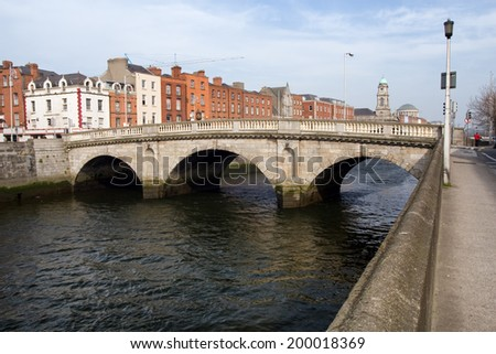 Mellows Bridge over river Liffey in the city of Dublin in Ireland.
