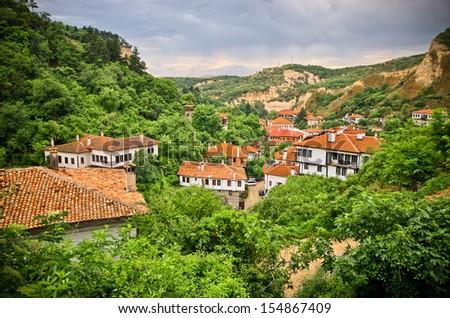Melnik in Bulgaria - old vineyard town - stock photo
