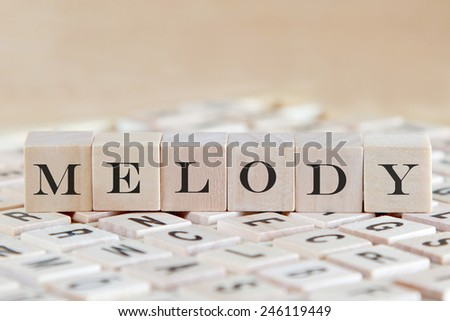 melody word on wood blocks - stock photo