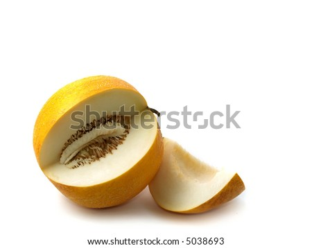 Melon and piece on white background - stock photo