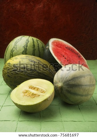 melon and watermelon - stock photo