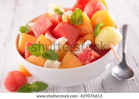 melon and watermelon salad - stock photo