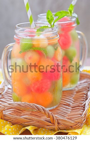 Melon cocktail with watermelon, cantaloupe and honeydew balls