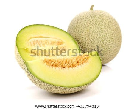 Melon cut piece isolated on white background. - stock photo