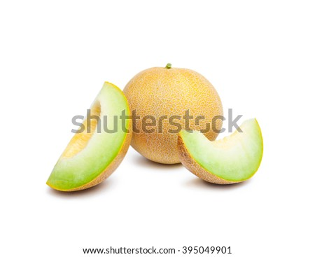 Melon honeydew and two melon slices. Whole ripe fresh melon honeydew and two melon slices isolated on white background - stock photo