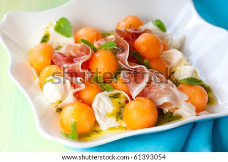 melon,mozzarella,ham salad with mint vinaigrette