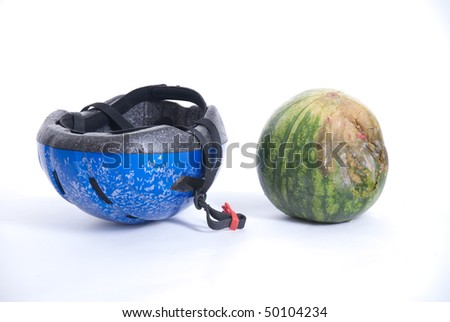 melon show in helmet safety when cycling - stock photo