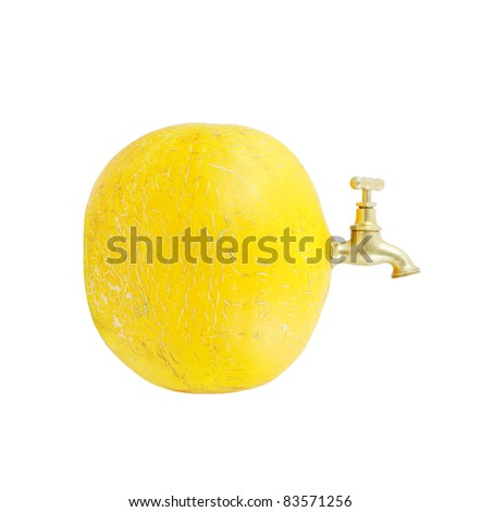 Melon with faucet isolated on white