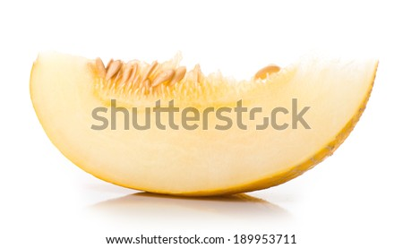 Melon with slices and leaves on a white background.  - stock photo