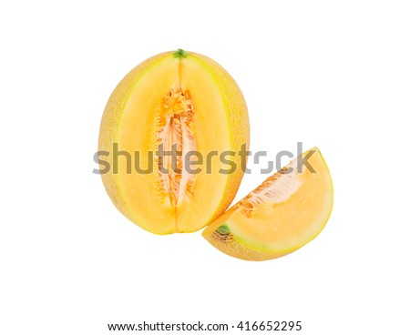 Melon with the cut part on a white background
