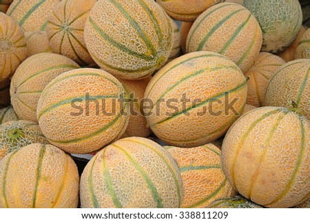 Melons at Cervia outdoor market - stock photo