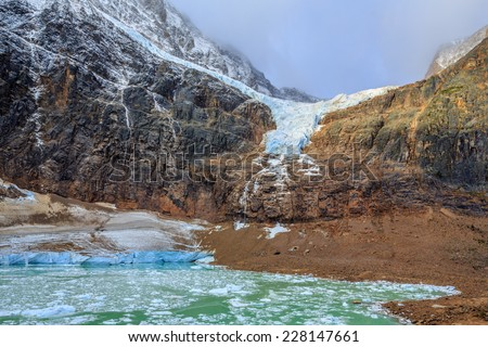Melt-water lake below Mount Edith Cavell, Jasper National Park, Alberta, Canada
