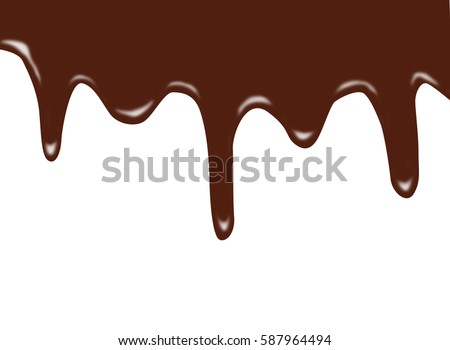 melted chocolate dripping on white background stock