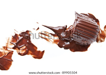 melted chocolate isolated on a white background - stock photo