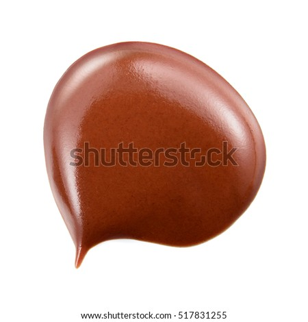 Melted hot chocolate. Drop isolated on white background.