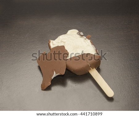 Melted ice cream bar/Chocolate Ice Cream Popsicle/Ice cream is melting from heat - stock photo