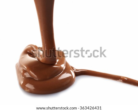 Melted milky brown chocolate pouring, isolated on white - stock photo